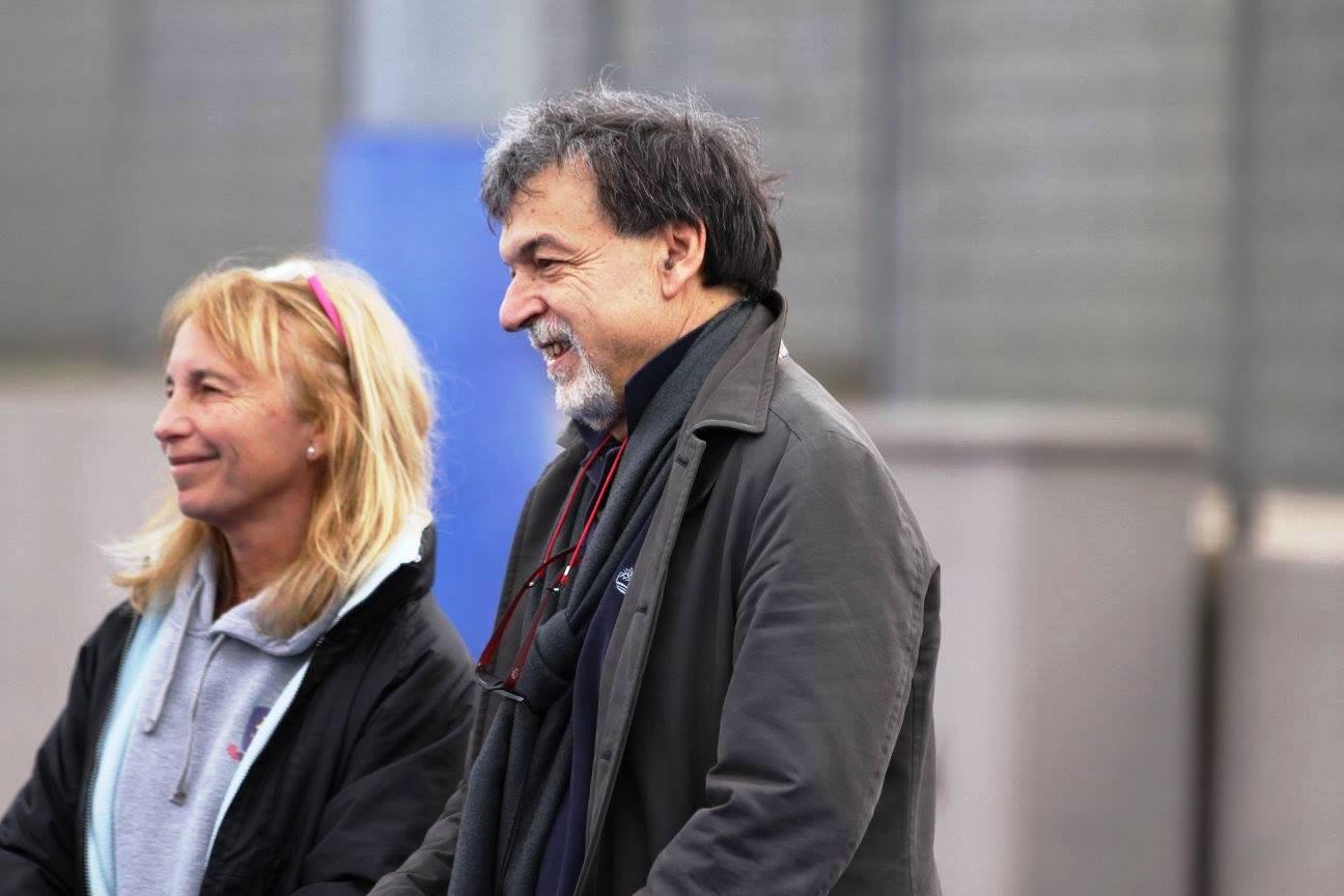 Il Presidente Della Roma De Sisti , Enzo Corso , Con Maria Marta Panizo Manager Della Libertas San Saba Femminile
