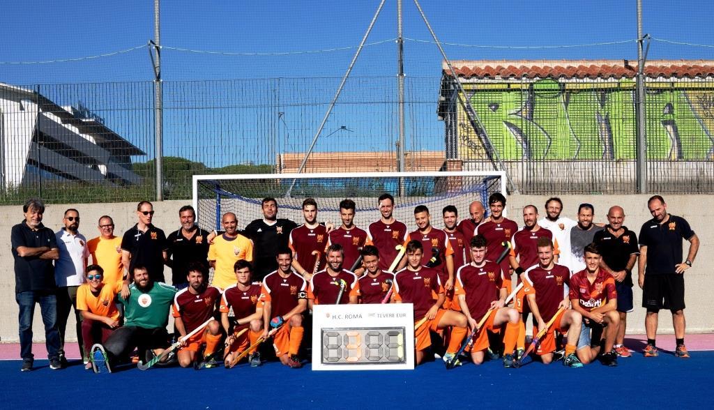 LHockey Club Roma Con Il Cartellone Risultato Del Derby Con La Tevere Rid(foto Francesco Acri )